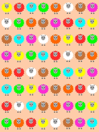 Easter background with colorful sheep Vector