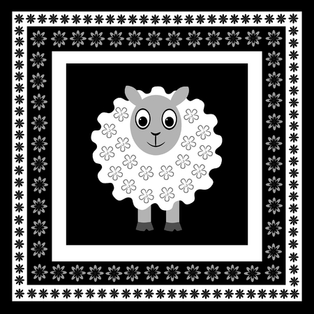 Sheep in floral frame Vector