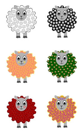 Set of six cute sheep Vector