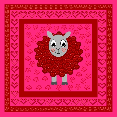 Sheep in frame with hearts and flowers Vector