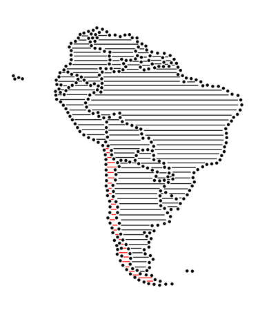 marked: Stylized map of South America with marked Chile