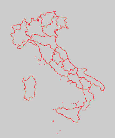 marked: Stylized map of Italy with marked regions