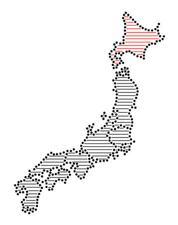 marked: Stylized map of Japan with marked Hokkaido