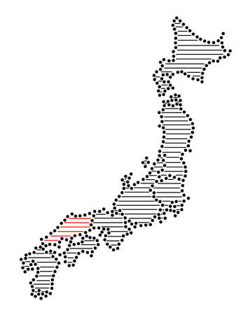 marked: Stylized map of Japan with marked Chugoku Illustration