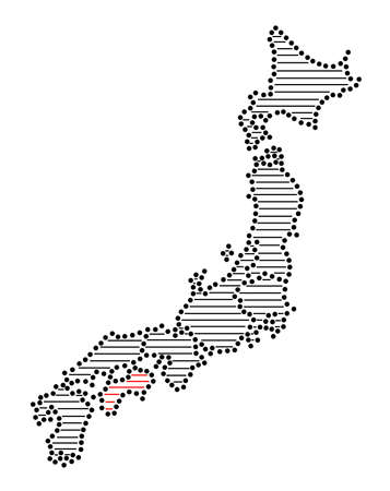 marked: Stylized map of Japan with marked Shikoku