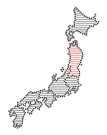 marked: Stylized map of Japan with marked Tohoku