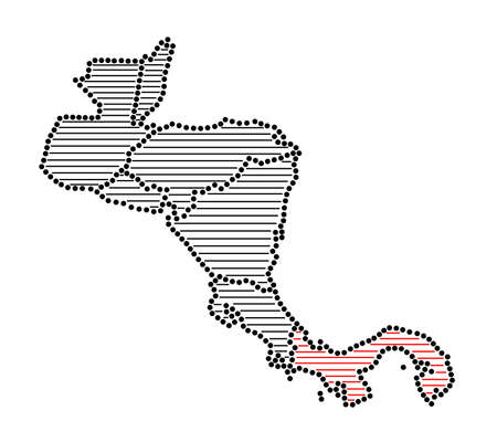 marked: Stylized map of Central America with marked Panama