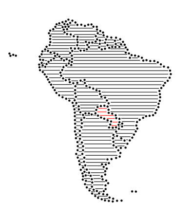 marked: Stylized map of South America with marked Paraguay