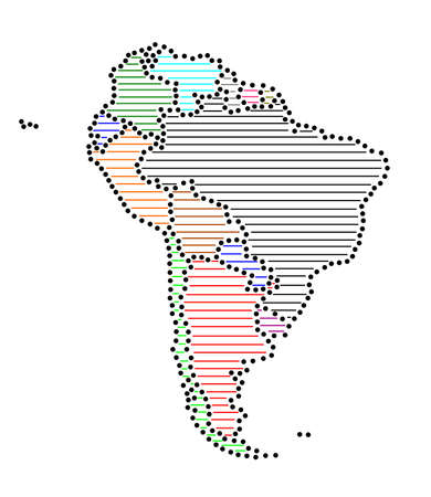 marked: Stylized map of South America with marked states