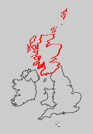 marked: Stylized map of British Isles with marked Scotland