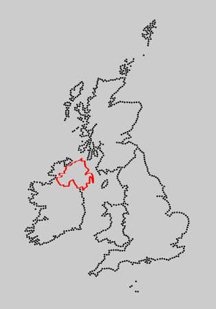 marked: Stylized map of British Isles with marked Northern Ireland Stock Photo