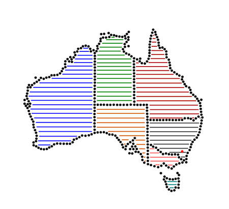 marked: Stylized map of Australia with marked states and territories Illustration