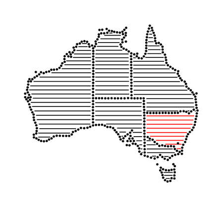 marked: Stylized map of Australia with marked state New South Wales