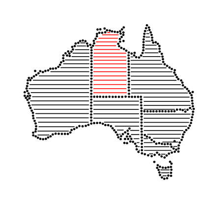 marked: Stylized map of Australia with marked Northern Territory