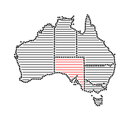 marked: Stylized map of Australia with marked state South Australia