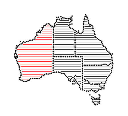 marked: Stylized map of Australia with marked state Western Australia