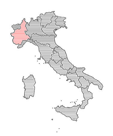 marked: Stylized map of Italy with marked region Piedmont