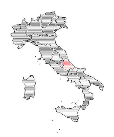 marked: Stylized map of Italy with marked region Abruzzo