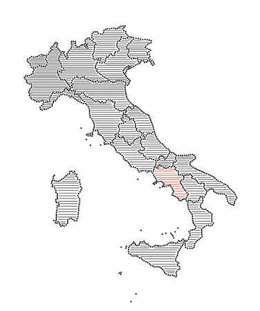 marked: Stylized map of Italy with marked region Campania