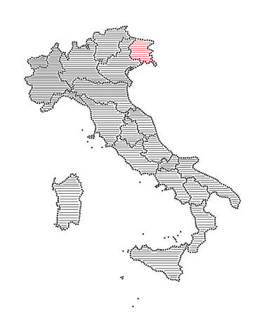 marked: Stylized map of Italy with marked region Friuli-Venezia Giulia