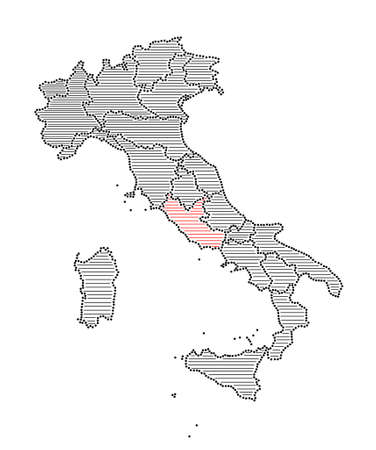 marked: Stylized map of Italy with marked region Lazio