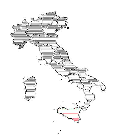 marked: Stylized map of Italy with marked region Sicily