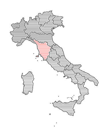 marked: Stylized map of Italy with marked region Tuscany