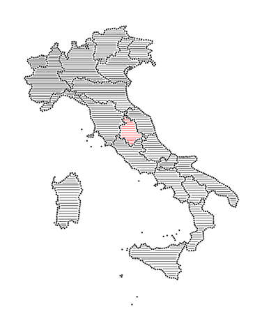 marked: Stylized map of Italy with marked region Umbria