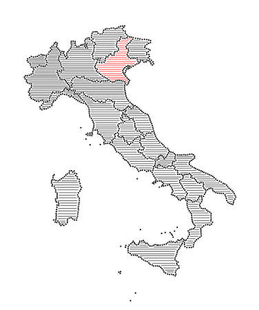 marked: Stylized map of Italy with marked region Veneto