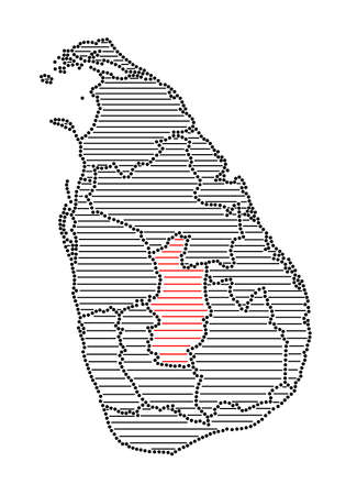 marked: Stylized map of Sri Lanka with marked Central Province