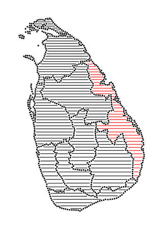 marked: Stylized map of Sri Lanka with marked Eastern Province