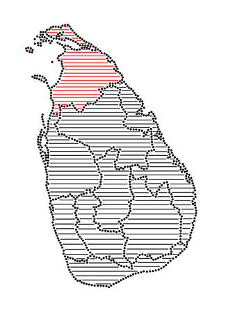 marked: Stylized map of Sri Lanka with marked Northern Province