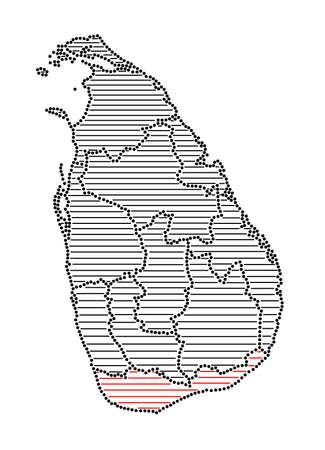 marked: Stylized map of Sri Lanka with marked Southern Province