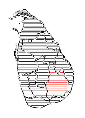 marked: Stylized map of Sri Lanka with marked Uva Province Illustration