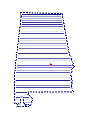 marked: Stylized map of Alabama with marked capital