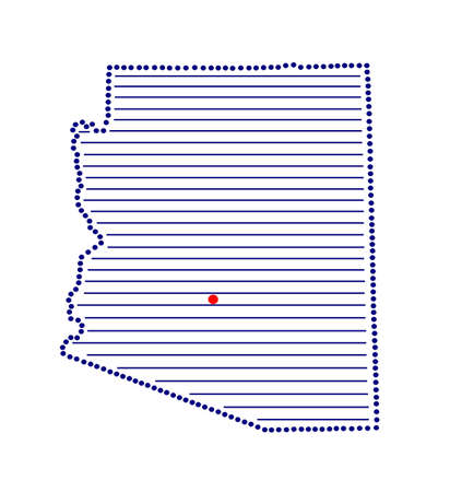 marked: Stylized map of Arizona with marked capital