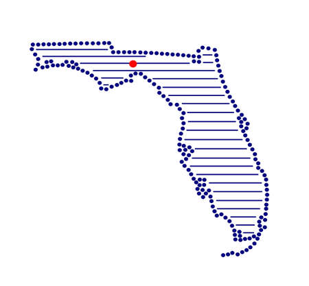 marked: Stylized map of Florida with marked capital Illustration