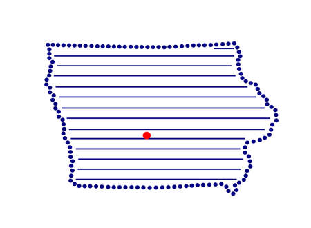 marked: Stylized map of Iowa with marked capital