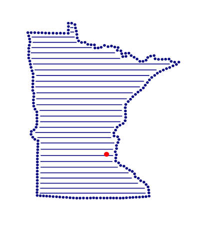 marked: Stylized map of Minnesota with marked capital