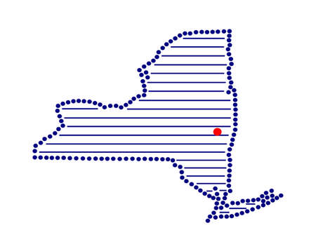 marked: Stylized map of New York with marked capital