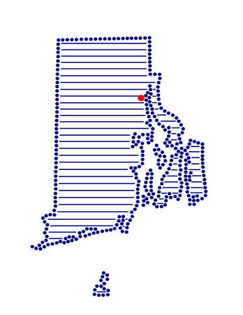 marked: Stylized map of Rhode Island with marked capital