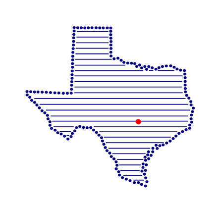 marked: Stylized map of Texas with marked capital