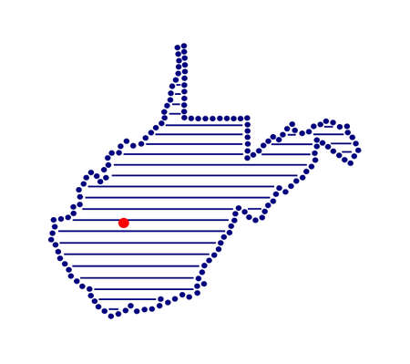 marked: Stylized map of West Virginia with marked capital