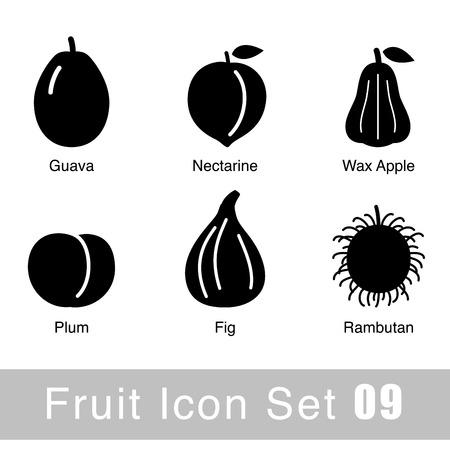 Fruit black icon design set Vector