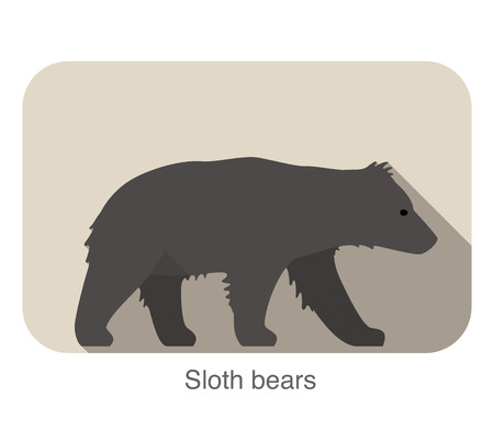 Sloth bear walking silhouette icon design Vector