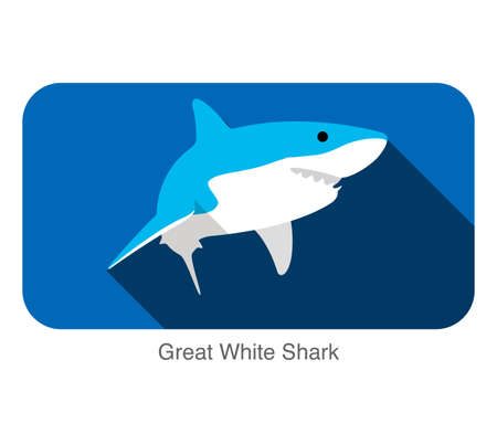 great white shark: Great white shark swimming flat icon design Vectores