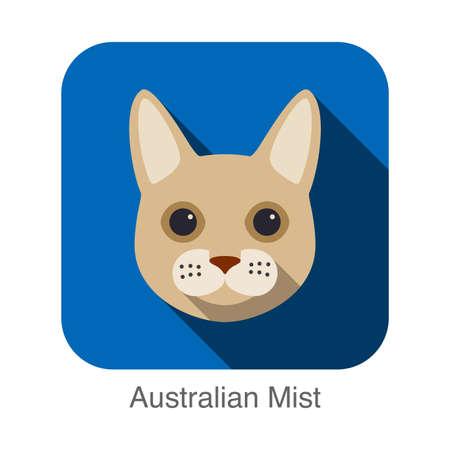 mist: Australian Mist, Cat breed face cartoon flat icon design