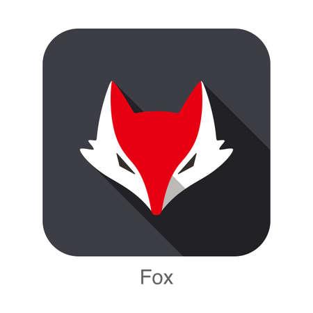 fox face: Fox face flat icon design. Animal icons series.