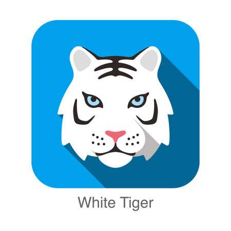 tiger head: White Tiger, Cat breed face cartoon flat icon design