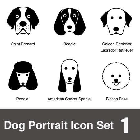 golden retriever puppy: Dog face character icon design series